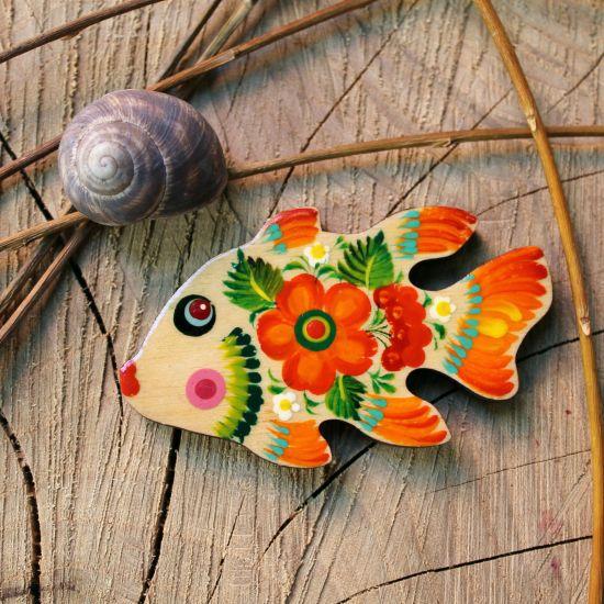 Fisch-Kühlschrankmagnet Tiere aus Holz - Ukrainisches Kunsthanderk