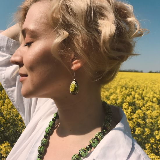 Folk-style hand painted  wooden earrings, Ukrainian original style