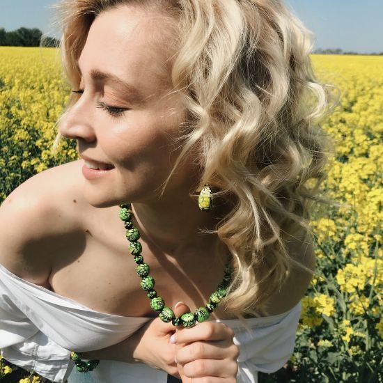 Folk style earrings drop in green, made of wood and hand painted, Ukrainian original art