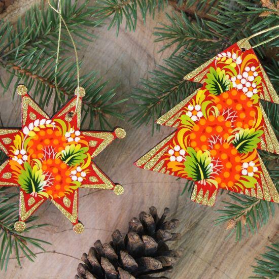 Rot-goldenes Christbaumschmuck-Set, Stern und Tannenbaum