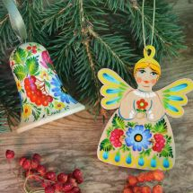 Rustic Christmas decorations Angel and bell handmade