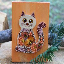 Katze Wanddeko aus Naturholz für Kinderzimmer, Kunsthandwerk