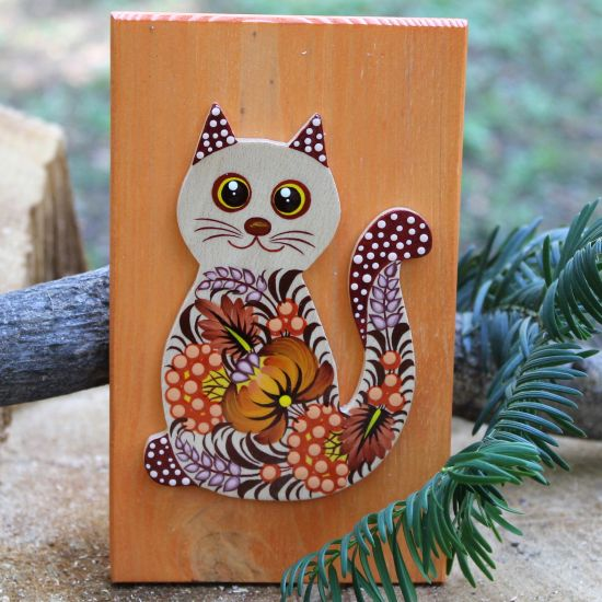 Cat wooden wall decoration for children's room, Ukrainian crafts