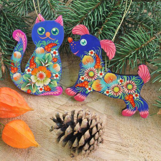Weihnachtsmuck-Set aus Holz- Katze und Hund-Anhänger in Blau