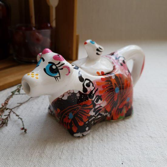 Beautiful little cow - hand painted ceramic milk jug