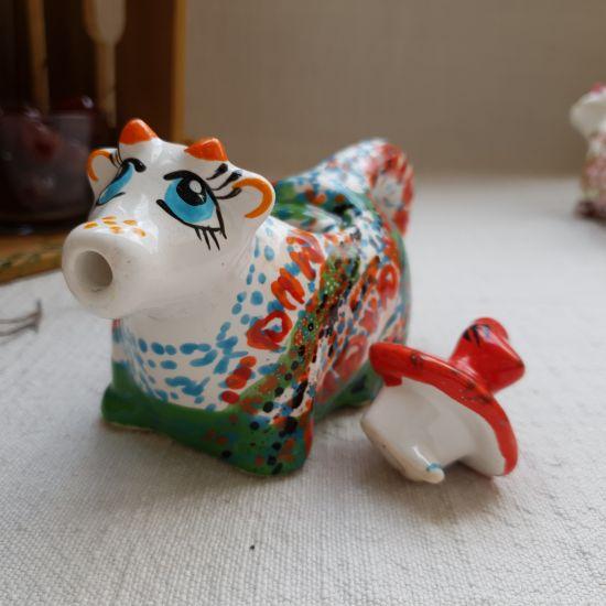 Lustige Kuh - kleine handbemalte Milchkanne aus Keramik,  Kunsthandwerk