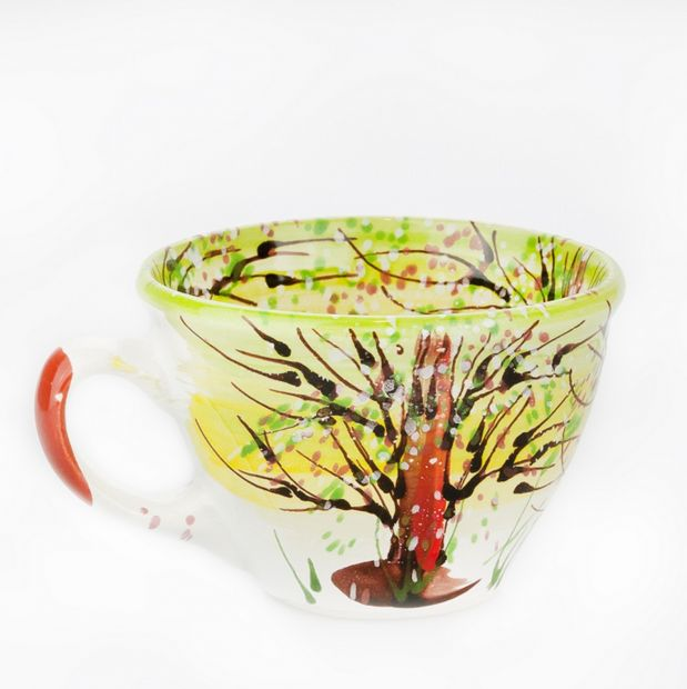 Keramik Tasse vom Hand bemalt -Natur im Frühling