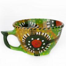 Funny mug with abstract pattern - ukrainian ceramic