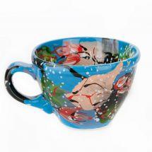 Original painted ceramic cup with flowers design - ukrainian ceramic