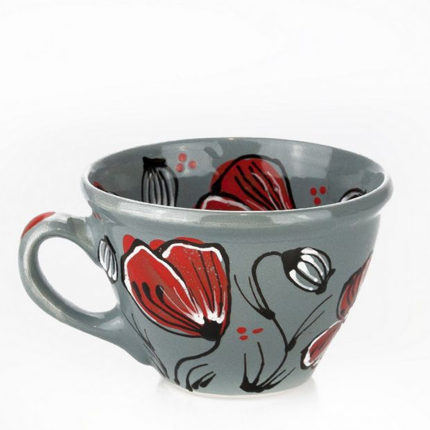 Original ceramic cup with poppies
