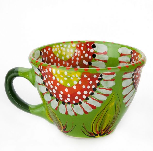 Lustige Getöpferte Tasse von Hand bemalt