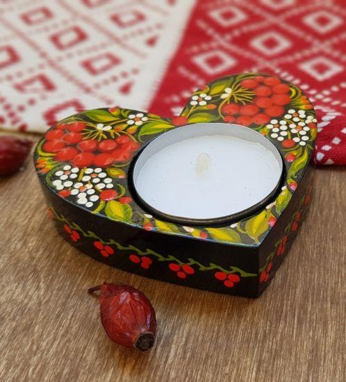 Handgefertigter Kerzenhalter-Herz aus Holz, ukrainische traditionelle Perykiwka Malerei