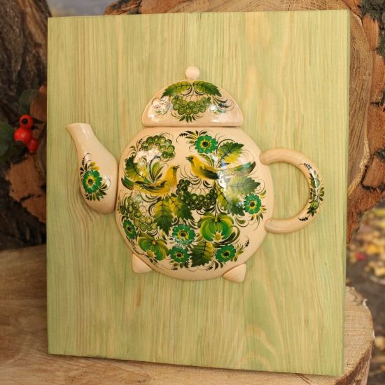 Rustic wooden wall decor, teapot hand painted with floral motives