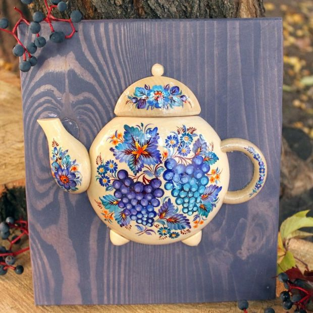 "Kitchen wall decoration made of wood ""Teapot"", hand painting"