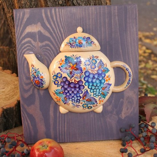 Kitchen wall decoration made of wood Teapot, hand painted