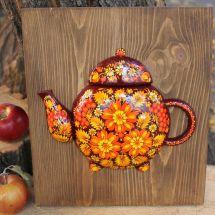 """Esszimmer Wanddekoration aus Holz """"Teekanne"""" mit Blumenmuster"""