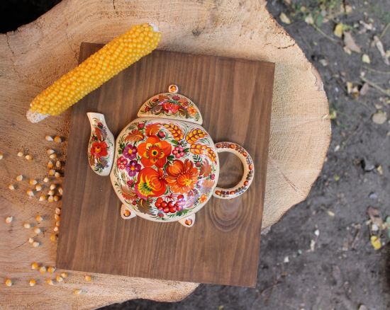 Wooden wall decorative teapot hand painted with floral motives