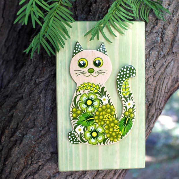 Katze Wanddekoration aus Naturholz für Kinderzimmer, Kunsthandwerk