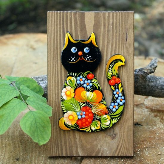 Cat wall decor with floral pattern on wood, Ukrainian crafts