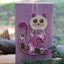 Katze Wanddekoration aus Naturholz, Kunsthandwerk