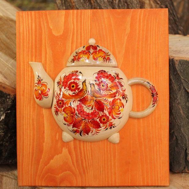 """Küchendekoration aus Holz """"Teekanne"""" mit Blumenmotive"""