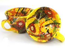 Hand painted ceramic cup with flowers pattern - ukrainian ceramic