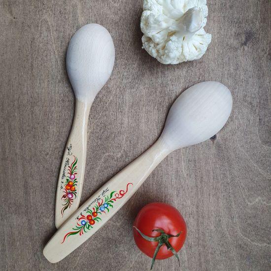 Küchenbedarf - Handbemalte Küchenlöffel aus Holz. 2 St. - Bauernmalerei