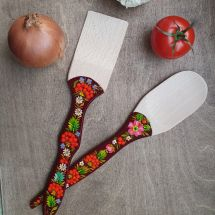 Hand painted kitchen wooden accessories - spatula and wooden spoon