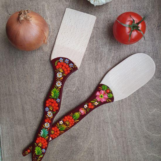 Handbemaltes Küchenzubehör auf holz - Pfannenwender und Kochlöffel
