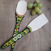 Traditional painted kitchen wooden accessories - spatula and wooden spoon
