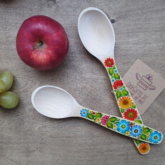 Handbemalte Kochlöffel -Küchenbedarf aus Holz. 2 St. - traditionelles Kunsthandwerk