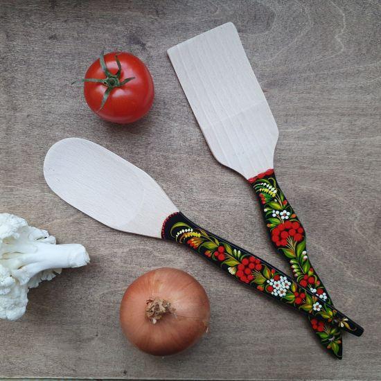 Ukrainisches bemaltes Küchenzubehör auf holz - Pfannenwender und Kochlöffel