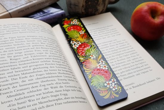 Handgemachte Lesezeichen aus Holz, ukrainische Lackmalerei