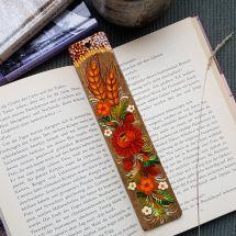 Originelle Lesezeichen aus Holz, handbemalt mit Blumenmuster