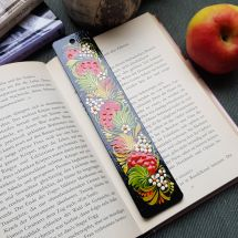 Wooden bookmark, hand painted in ukrainian art