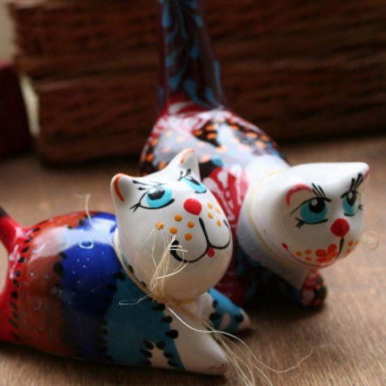Ein nettes Pärchen - Kater und Katze Deko - Keramik Figuren - lustige Katzen - Geschenk