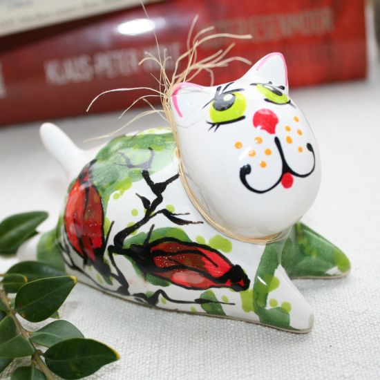 Kater und Katze - handbemalte Keramik Figuren -  verliebte Katzen - Valentinstag Geschenk