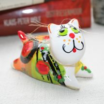 Ceramic cats boy and girl- funny cats deco painted - Valentins day gifts