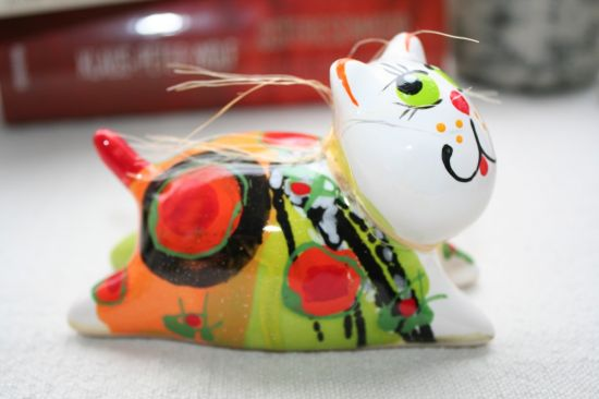 Katze - Keramik Dekoration - lustige Katze - Valentinstag Geschenk