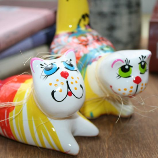 Cats in love - ceramic cats boy and girl- cute cats deco hand painted - Valentins day gifts