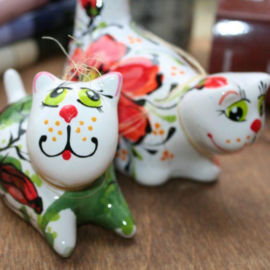 Kater und Katze - Keramik Figuren - lustige Katzen - handgemachtes Valentinstag Geschenk