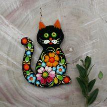 "Handmade fridge magnet ""Cat"", cool gift for Cat lovers, Petrykivka painting"