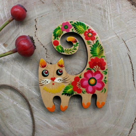 Witzige Katze-Holzkühschrankmagnet für Katzenliebhaber