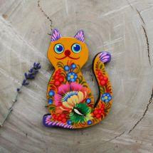 Orange Cat handmade fridge magnet, pretty gift for cat lovers, ukrainian painting