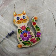 Cat fridge magnet, pretty gift for cat lovers, Petrykivka painting