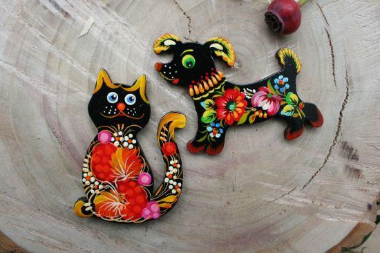 Kühlschrankmagnet Schwarze Katze mit Blumenmuster
