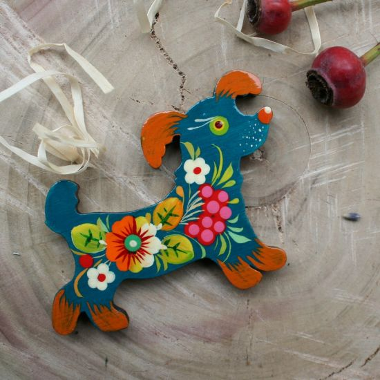 """Wooden fridge magnet and hand painted souvenir """"Doggi"""",  dog lovers gift"""