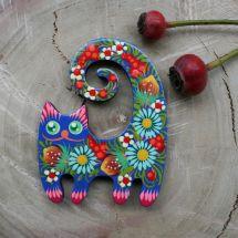 Sweet cat fridge magnet, handmade gift for cat lovers, ukrainian painting