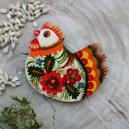 Wooden magnet Chicken handmade and painted