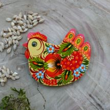 Hochwertiger Kühlschranktmagnet aus Holz - Huhn-  sehr fein handbemalt